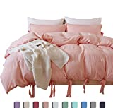 Difference Between King and Cal King Mattress Luxury Egyptian Quality Washed Cotton Duvet Cover Pink 3 Pieces Set - Tabs Closure & Corner Ties - Hypoallergenic Comforter Cover & Pillowcases, Durable Breathable Quilt Case King Size,Peach