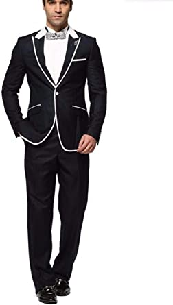 Lilis Slim fit 2 Piece Suit for Men One Button Tuxedo Business Wedding Casual