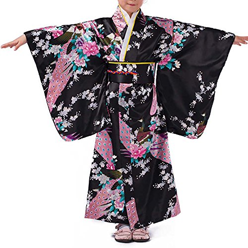 Girls Kimono Costume Japanese Asian Top Dress Robe