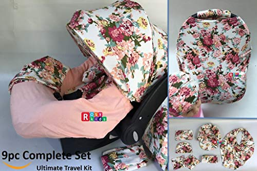 9pc Baby Girl Ultimate Set of Infant Car Seat Cover Canopy Headrest Blanket Hat Nursing Scarf, 25JE10 (Girl Infant Car Seat Cover Set)