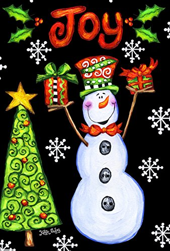 Toland Home Garden Snowman Joy 28 x 40 Inch Decorative Colorful Festive Christmas Holiday Tree Double Sided House Flag - 109690