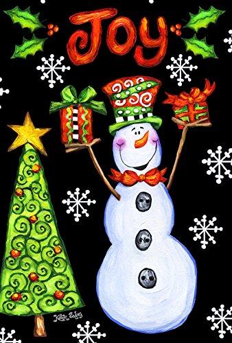 Toland Home Garden Snowman Joy 28 x 40 Inch Decorative Colorful Festive Christmas Holiday Tree Double Sided House Flag - 109690 (Background Christmas Artsy)