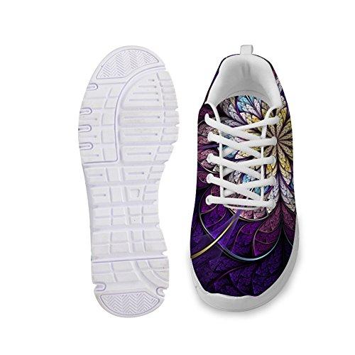 Voor U Ontwerpen Mode Heren & Dames Ademende Bloemen Sneakers Loopschoenen Paarse Bloem
