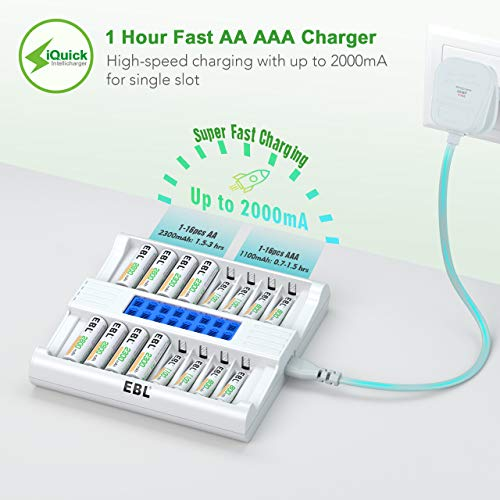 EBL Updated LCD 16 Slots Battery Charger for AA AAA Rechargeable Batteries, Super Fast Independent Battery Charger with Intelligent Battery Detection Technology, AA AAA Battery Charger