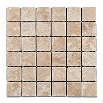 Durango Cream (Paredon) Travertine 2 X 2 Tumbled Mosaic Tile