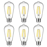 Ascher E26 LED Light Bulbs, 6W, Equivalent 60W, 800lm, Warm White 2700K, ST58 Edison Bulb,Vintage Filament Clear Glass, Non Dimmable, Pack of 6