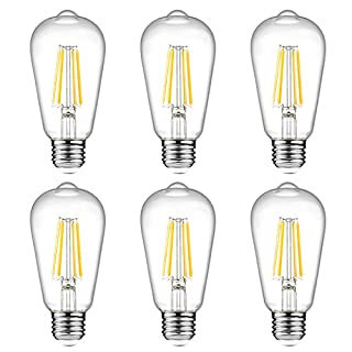 Ascher Vintage LED Edison Bulbs, 6W, Equivalent 60W, High Brightness, Warm White 2700K, ST58 Antique LED Filament Bulbs, E26 Medium Base, Non Dimmable, Clear Glass, Pack of 6