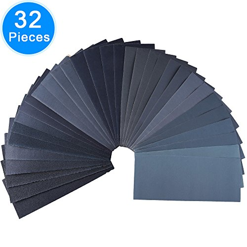 Wet Dry Sandpaper Assorted, 32 Pcs Abrasive Paper Sheets Assortment 120/ 150/ 180/ 240/ 320/ 400/ 600/ 800/ 1000/ 1200/ 1500/ 2000/ 2500/ 3000 Grit for Metal, Automotive, Wood, Furniture, 9 x 3.6 Inch