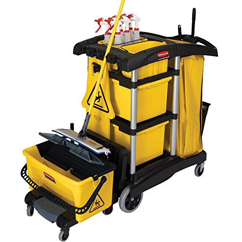 Rubbermaid FG9T7300BLA HYGEN Microfiber High Capacity Janitor Cart with Bins - Capacity Cleaning Cart