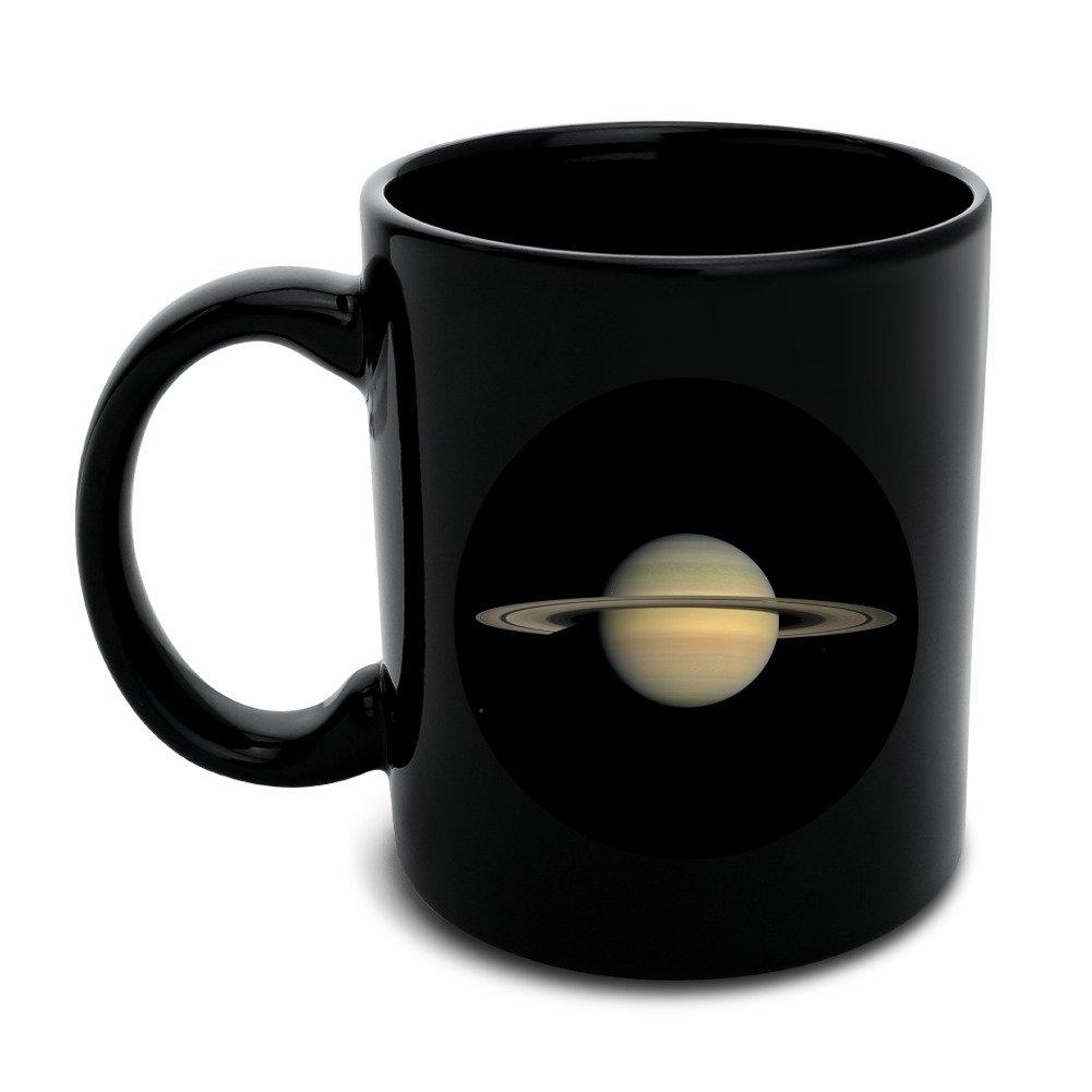 Planet Saturn with Rings Solar System Black Mug