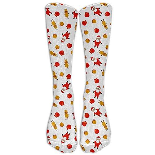 Cute Christmas 1 Pair Over-The-Calf Socks Cosplay Socks Knee High Lightweight Ribbed Dress Stockings (Lights Christmas Meme Early)