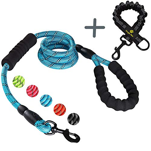 (Strong Double Handle Dog Leash with Shock Absorbing Anti-Pull Bungee for Large and Medium Dogs, Elastic Dual Two Padded 2 Handles Reflective Lead for Traffic Safety Control Training and Walking, Blue)