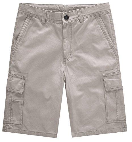 (WenVen Men's Loose Fit Cotton Twill Cargo Short, Khaki, 38)