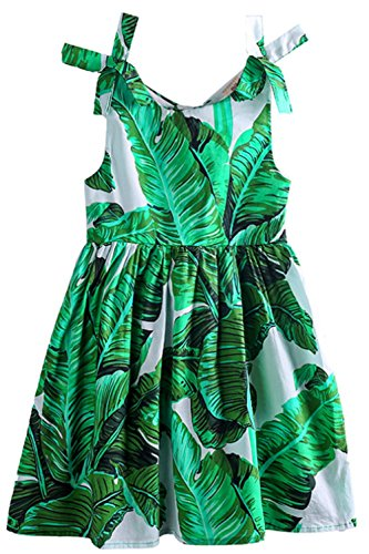 Toddler Baby Girls Summer Banana Leaves Print Sleeveless Casual Dress Sundress (18-24 Months/Tag100, Green)