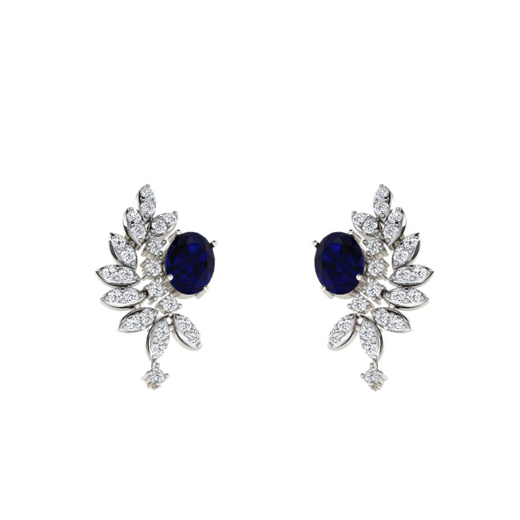 DTJEWELS 1.33 Ct Round Cut Sim Diamonds Blue Sapphire Stud Earrings For Girls In 14K Gold Plated .925