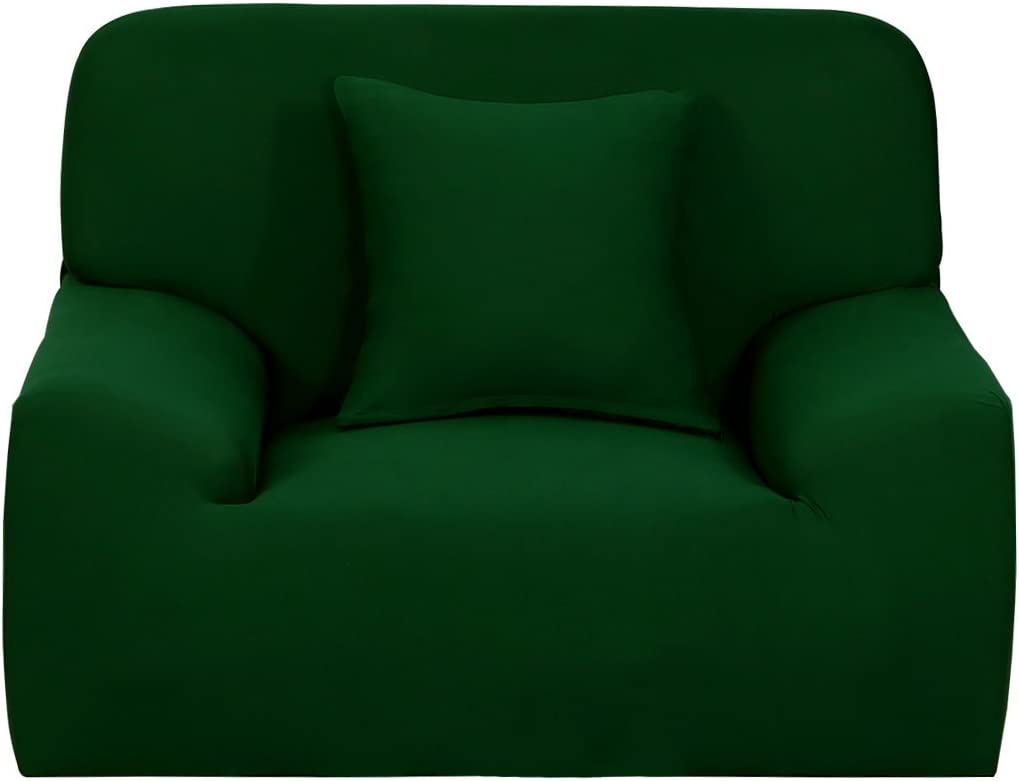 uxcell Stretch Sofa Cover Chair Loveseat Couch Slipcover, Machine Washable, Stylish Furniture Protector with One Cushion Case (1 Seater, Dark Green)