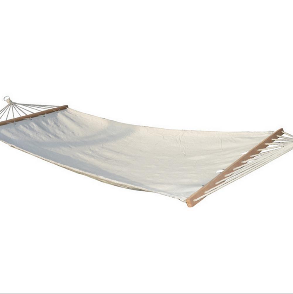 DZW Ben weißen Baumwoll-Canvas mit hölzernen einzigen Single-Outdoor-Freizeit-Hängematte