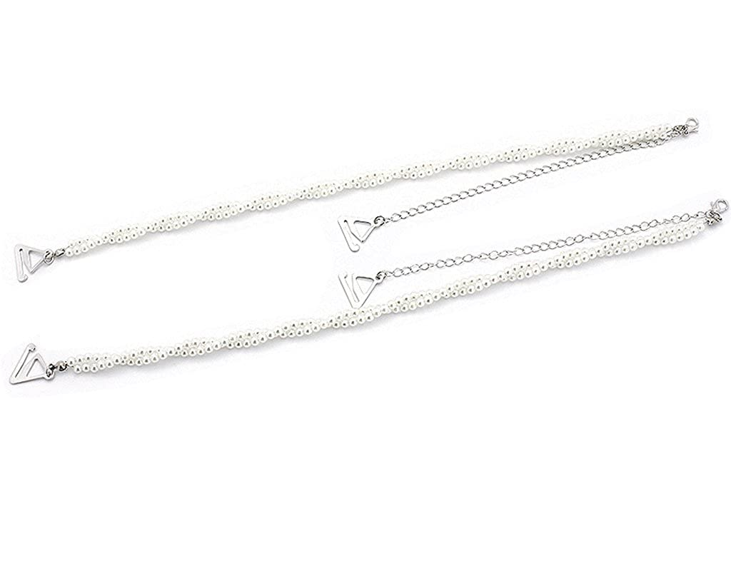 BONAMART ® 1 pair Elegant 6mm Pearl Bra straps for Bra/Tops/Dress