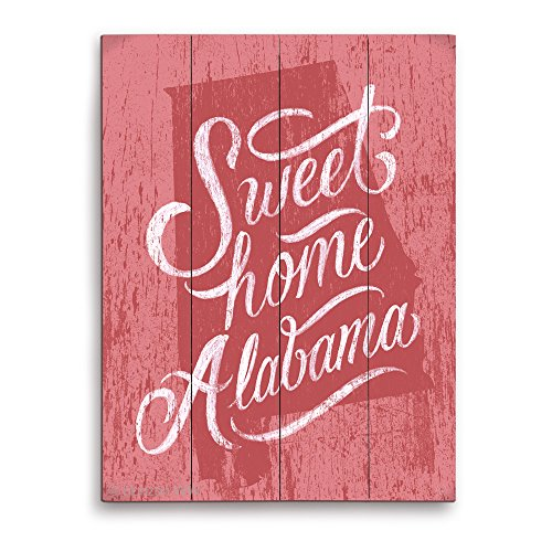 Distressed Wood Textured Red Sweet Home Alabama State Planked Wood Art Print Wall