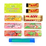 Juicy Jay's Flavoured Rolling Papers 1 1/4 Size Taster Bundle with Rolling Machine, Tips, Doob Tube and Dank Paper Scoop Card