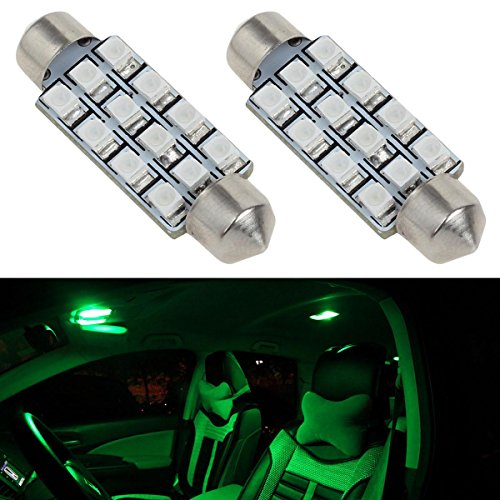 Partsam 2Pcs 42mm 211-2 212-2 578 LED Bright 12-3528 Chipsets 1.65 inches Interior Map Dome Lights Green