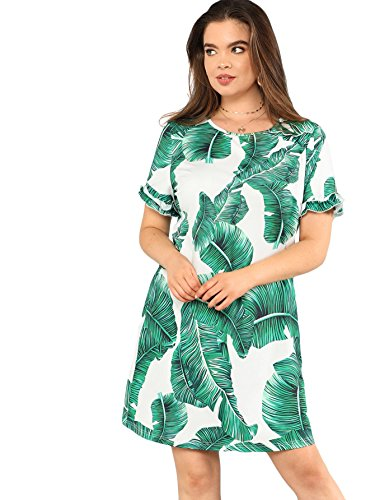 Floerns Women's Palm Leaf Print Short Sleeve Summer Dress Multi-1 3XL