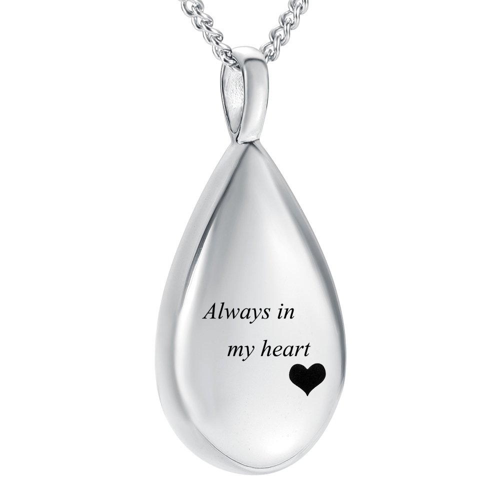 Carved Teardrop Keepsake Ashes Necklace Urn Pendant Cremation Memorial Jewelry(Always In My Heart)