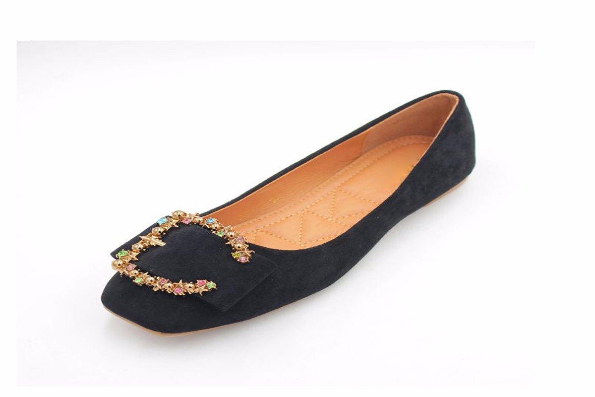 KPHY Damenschuhe/Frühjahr Mode Farbe Bohrer Dekorative Samt Flachen Platz Square Flachen Boden Single-Schuh-Schuhe
