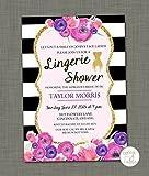 Black and white lingerie shower invitation Set of 10 Bridal lingerie party invite