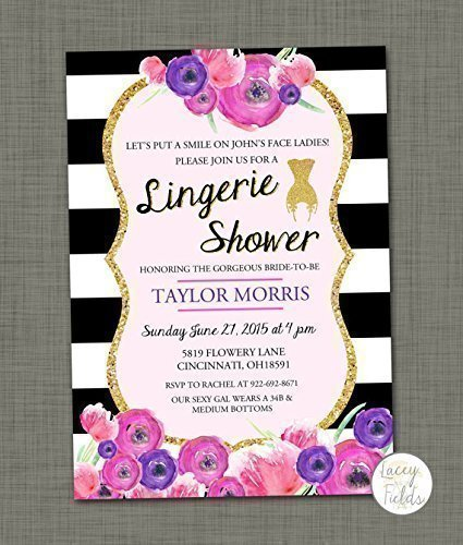 Amazoncom Black and white lingerie shower invitation Set of 10