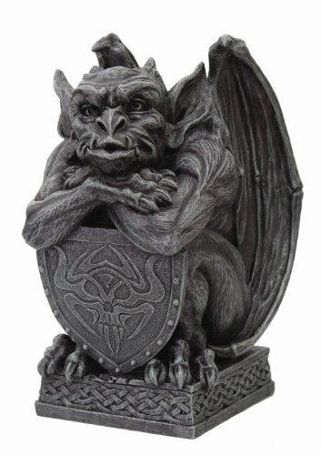 (6.5 Inch Resin Medieval Gargoyle with Shield Protection Statue)