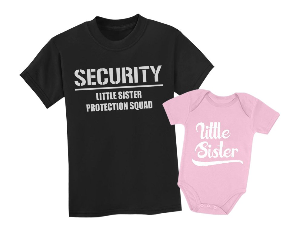 Tstars Big Brother & Little Sister Siblings Set - Security For My Little Sister Shirts Toddler Kids T-Shirt Black 3T / Baby Bodysuit Pink Newborn (0-3M) by Tstars