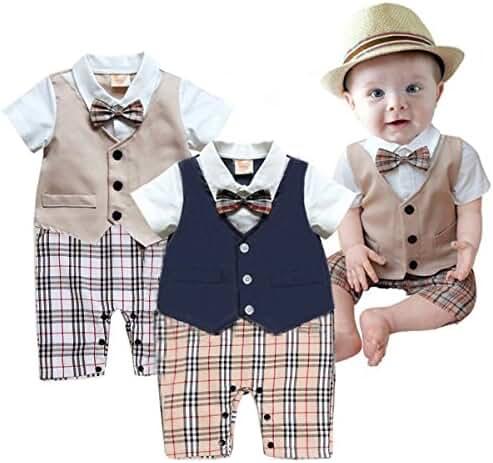 Taiycyxgan Baby Boy Summer Short Sleeve Gentleman Bow Tie Tuxedo Rompers Bodysuits