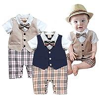 Taiycyxgan Baby Boy Summer Short Sleeve Gentleman Bow Tie Tuxedo Rompers Body...