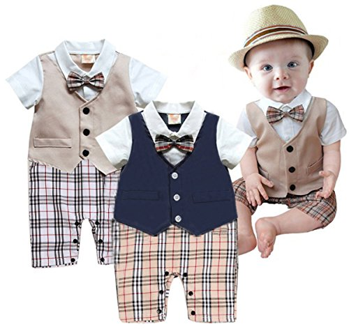 Taiycyxgan Baby Boy Summer Short Sleeve Gentleman Bow Tie Tuxedo Rompers Bodysuits Khaki 80