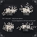 BriLove Womens Ivory Color Simulated Pearl Crystal Floral Handmade DIY Bendable Filigree Bead Hair Comb Clear Silver-Tone