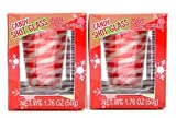 Deluxe Set of 2 Large Candy Shot Glasses Edible Shot Glasses Peppermint Candy Cane Christmas Party New Years Celebration (2 Shots Individually Packaged Red & White Colors)