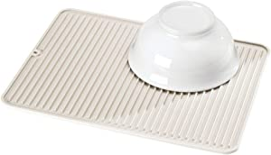 mDesign Silicone Dish Drying Mat and Protector for Kitchen Countertops, Sinks - Ribbed Design - Non-Slip, Waterproof, Heat Resistant, Dishwasher Safe - Cream/Beige