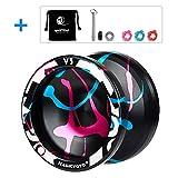 CHEE MONG Magic Yoyo Professional Responsive Yoyo Metal Yoyo V3,Replacement Unresponsive Yoyo Bearing for Advanced Players, with + Bonus+bearing + Bearing Tool+3 Strings( Black&Blue&Pink)