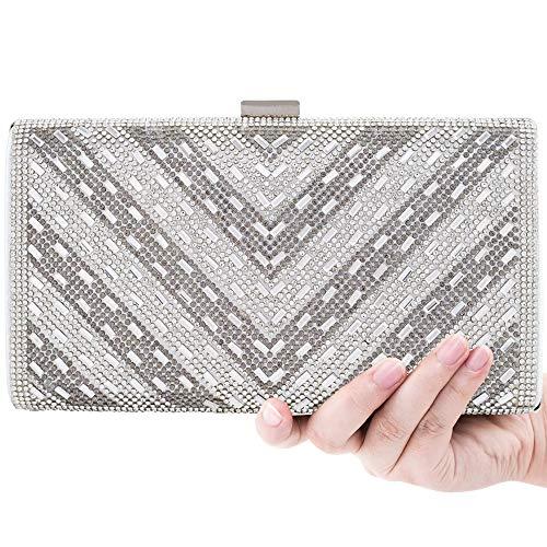 Women Clutch Evening Bag Elegant Beaded Shoulder Bag Luxurious Handbag Purse (Silver BB)