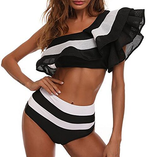 juqilu Frauen-reizvolle Schulter-zerzauste Bodysuit-Badebekleidungs-Overall-einteiliges Monokini, der Badeanzug-Strand-Abnutzung badet Schwarz
