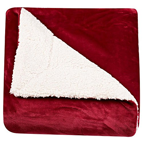 (60 in. x 70 in. Luxurious Micro-Mink Day Bed Throw Reverses to Sherpa Throw Blanket in Gift Bag in Burgundy (Red Wine))