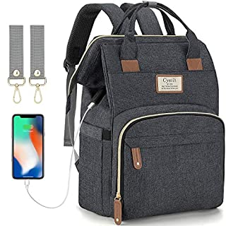 Diaper Bag Backpack with USB Charging Port and Stroller Straps, Maternity Nappy Bag with Insulated Feeding Bottle Pocket