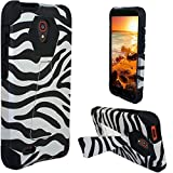 Alcatel One Touch Pop Icon 2 LTE A846L Case, The3Knights[TM] Armor Hybrid Kickstand Phone Case + The3Knights[TM] Classic Stylus (Zebra+Black)