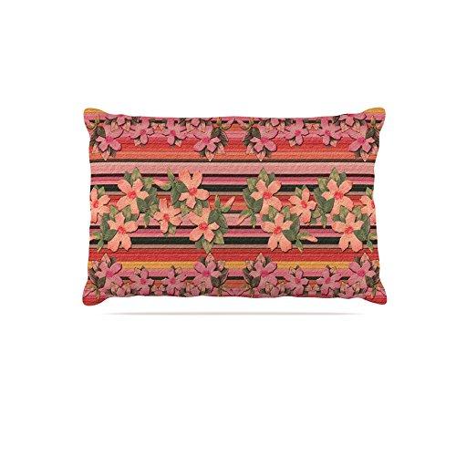 Kess InHouse Nina May Peach Hibiscus Stripe  Fleece Dog Bed, 50 by 60 , Pink orange