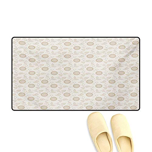 Door Mats,Abstract Sunflower Motifs in Antique Style Romantic Old Fashioned Scroll Inspired,Bath Mat Bathroom Mat with Non Slip,Cream Tan,16