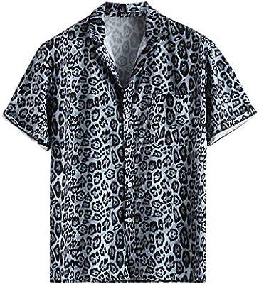 ღLILICATღ Casual Camisa de Hombre Hawaiana con Manga Corta Bolsillo Delantero Estampado de Leopardo De Hawaii Playa Camisa Holgada Informal: Amazon.es: Deportes y aire libre