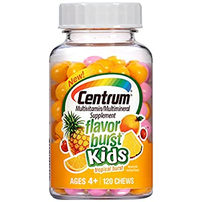 Centrum Kids Flavor Burst (120 Count, Grape and Blue Raspberry Flavor) Multivitamin