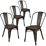 lch industrial metal wood top stackable dining chairs set of 4 vintage stackable bistro cafe chairs with back 500lb limit antique copper