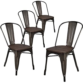 LCH Industrial Metal Wood Top Stackable Dining Chairs, Set of 4 Vintage Indoor/Outdoor Stackable Bistro Cafe Chairs with Back, 500LB Limit (Antique Copper)
